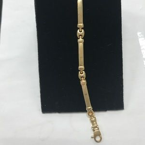 Jewelry - 14K Gold 5mm Gucci Link Curved Bar Bracelet 7.25""